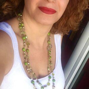 Collana doppio giro con perle in diaspro impression, perle Sw, perle in quarzo rutilato, cristalli bicono Sw, mezzi cristalli, perline cerate, perline in agata #collanafattaamano #collanalunga #collanauncinetto #collanaquisikrea