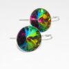 Orecchini con cristallo verde iridescente