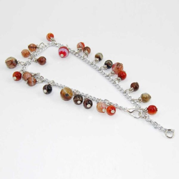 Cavigliera con perline sfaccettate in agata multicolor e catena in alluminio con doppia lunghezza variabile
