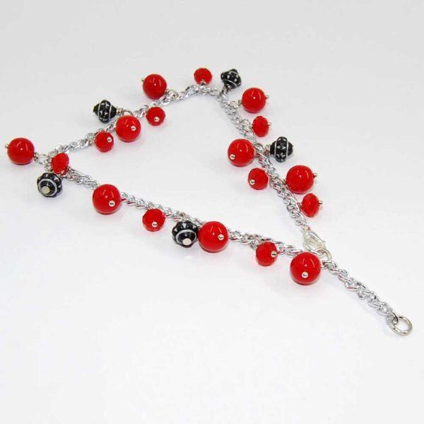 Cavigliera con doppia lunghezza variabile, catena in alluminio anallergico, perline in vetro, cipolline punti luce in vetro