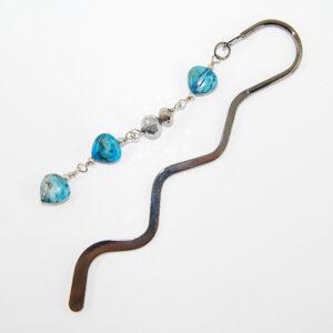 Segnalibro con perle in vetro e cipolline punti luce in vetro