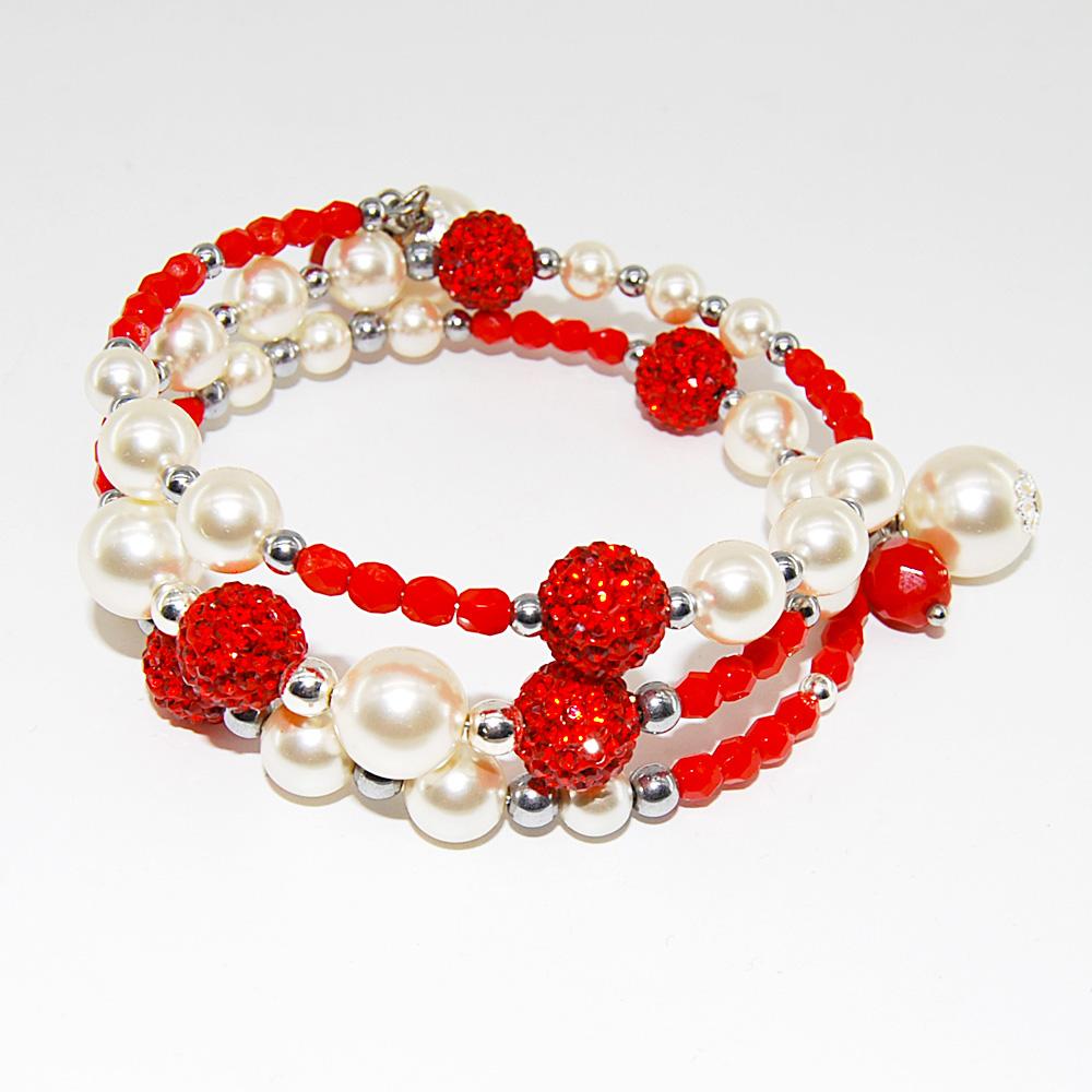 metà fuori c317a ba9e2 Bracciale con perline pavé e perle Swarovski