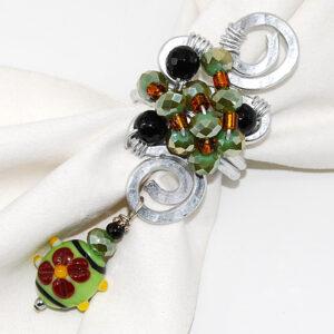 Ferma-foulard con perle verdi