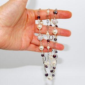 Collana con perle pavé e cristalli