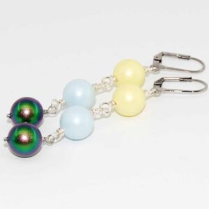 Orecchini con perle satinate Swarovski in colori pastello e monachina anallergica