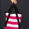 Shopping bag righe fucsia