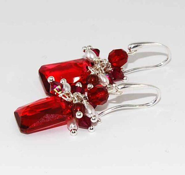 Orecchini con cristallo rubino
