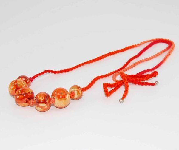 Collana arancione uncinetto
