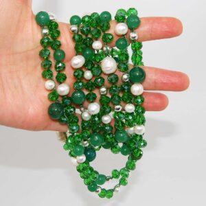 Collana verde con perle di fiume